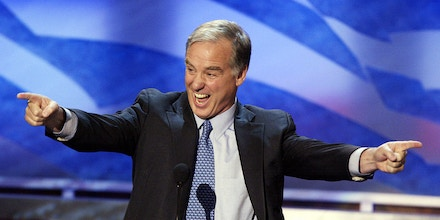 BOSTON, United States:  Former Vermont Governor and 2004 presidential hopeful Howard Dean greets the Democratic National Convention 27 July, 2004, in Boston, Massachusetts. The US Democratic Party opened the second day of their national convention that will culminate with the formal nomination of John Kerry as their White House candidate on 29 July. AFP PHOTO/PAUL J. RICHARDS  (Photo credit should read PAUL J. RICHARDS/AFP/Getty Images)