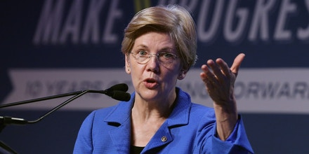 WASHINGTON, DC - JULY 16:  U.S. Sen. Elizabeth Warren (D-MA) addresses the 10th annual Make Progress National Summit at the Walter E. Washington Convention Center July 16, 2015 in Washington, DC.  Hundreds of youth leaders, student activists, and organizers gathered for the convention, which is organized by Generation Progress, the youth engagement arm of the liberal think tank Center for American Progress.   (Photo by Chip Somodevilla/Getty Images)