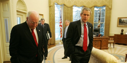 RC:  Vice President Cheney, President George Bush, Andy Card, and Steve Hadley talk after a meeting with the Ambassador of Saudi Arabia to the United States. Oval Office.