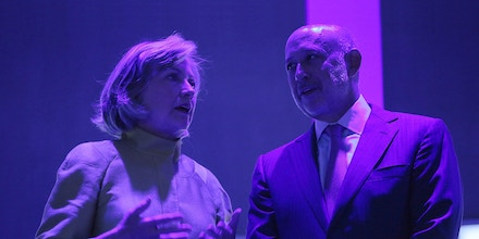 Hillary Clinton and Lloyd Blankfein at the Sheraton New York Hotel & Towers on September 24, 2014 in New York City.