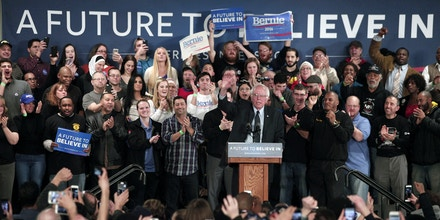 DEARBORN, MI - FEBRUARY 15:  Democratic presidential candidate, U.S. Sen. Bernie Sanders speaks at a campaign rally at United Auto Workers Union Local 600 February 15, 2016 in Dearborn, Michigan. The UAW has not yet endorsed a presidential candidate. The next voting for the Democratic candidates will be the Nevada caucus on February 20.  (Photo by Bill Pugliano/Getty Images)