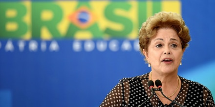 Brazilian President Dilma Rousseff speaks during inauguration ceremony of new Minister of Social Communication Edinho Silva at the Planalto Palace in Brasilia, Brazil, on 31 March 2015.  AFP PHOTO/EVARISTO SA        (Photo credit should read EVARISTO SA/AFP/Getty Images)