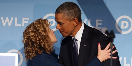 WASHINGTON, DC - SEPTEMBER 19:  DNC Chair Rep. Debbie Wasserman Schultz (D-FL) introduces US President Barack Obama during the Democratic National Committee's Women's Leadership Forum, September 19, 2014 in Washington, DC.  The Womens Leadership Forum is holding their 21st annual National Issues Conference a the Marriot Marquis Hotel.  (Photo by Mark Wilson/Getty Images)