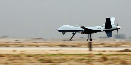 An MQ-9 Reaper unmanned aerial vehicle lands at Joint Base Balad, Iraq, Nov. 10. Reapers are remotely piloted and can linger over battlefields, providing persistent strike capabilities to ground force commanders. This Reaper is deployed to the 46th Expeditionary Reconnaissance and Attack Squadron from Creech Air Force Base, Nev.