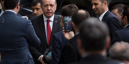 WASHINGTON, DC - MARCH 31:Turkish President Recep Tayyip Erdogan at the Brookings Institution, March 31, 2016 in Washington, DC. Erdogan met with U.S. Vice President Joe Biden this morning. He is also scheduled to dedicate a new Islamic cultural center in suburban Washington on Saturday. (Drew Angerer/Getty Images)