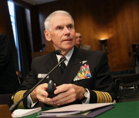 Admiral William Fallon testifies at a Senate Armed Services
