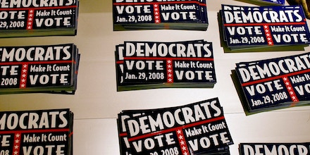 PEMBROKE PINES, FL - SEPTEMBER 23:  Bumper stickers encouraging Democrats to vote lie on a table as the Florida Democratic party leaders announced plans to move ahead with the state's January 29 presidential primary even if it means losing all delegates to the nominating convention September 23, 2007 in Pembroke Pines, Florida. National Democratic officials voted in August to strip Florida of its 210 delegates to the Denver convention unless the primary is delayed by at least a week.  (Photo by Joe Raedle/Getty Images)
