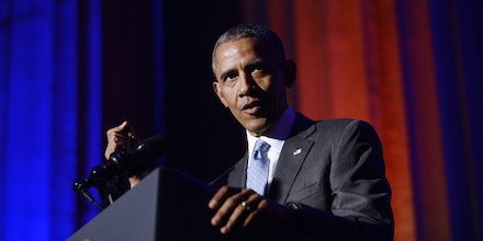 WASHINGTON, DC - MARCH 28: (AFP OUT) U.S. President Barack Obama delivers the keynote address at the awards dinner for Syracuse University's Toner Prize for Excellence in Political Reporting at the Andrew W. Mellon Auditorium March 28, 2016 in Washington, DC. The event recognizes the importance of quality, fact-based political journalism. (Photo by Olivier Douliery-Pool/Getty Images)