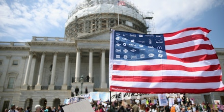 WASHINGTON, DC - APRIL 11:  Democracy Spring protesters participate in a sit-in at the U.S. Capitol to protest big money in politics, April 11, 2016 in Washington, DC. More than 2,000 people have pledged to participate in the organization's sit-ins to