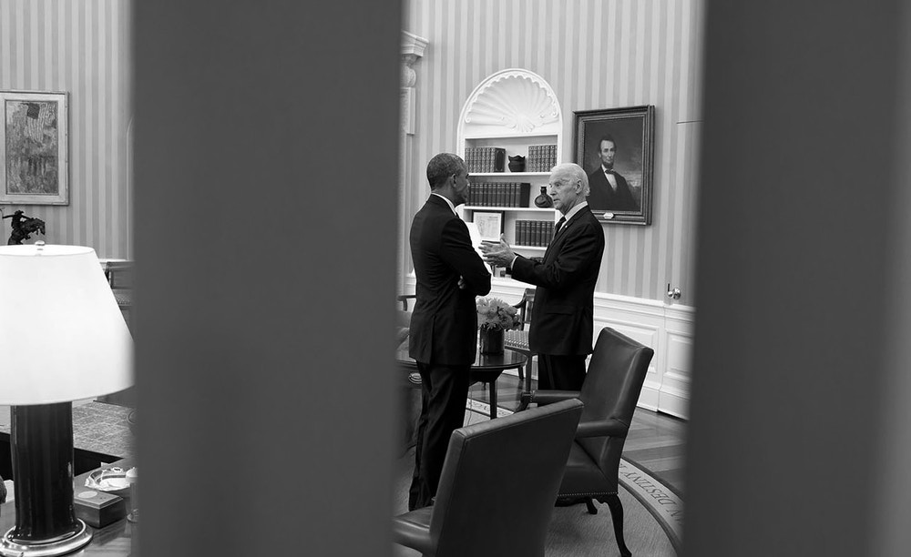 President Barack Obama talks with Vice President Joe Biden in the Oval Office, April 15, 2015. (Official White House Photo by Chuck Kennedy)This official White House photograph is being made available only for publication by news organizations and/or for personal use printing by the subject(s) of the photograph. The photograph may not be manipulated in any way and may not be used in commercial or political materials, advertisements, emails, products, promotions that in any way suggests approval or endorsement of the President, the First Family, or the White House.