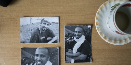 Photos of Mohamedou Ould Slahi, a Mauritanian held in Guantanamo.