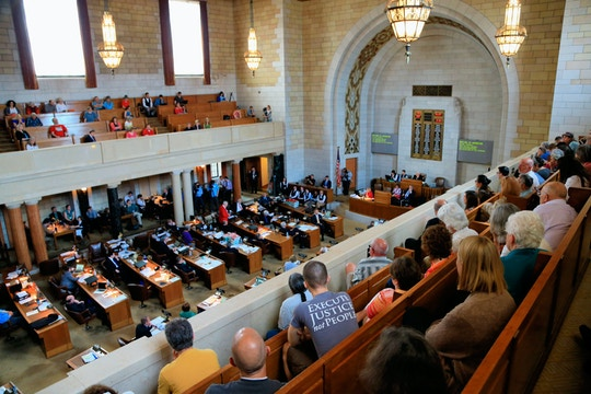 Nebraska lawmakers debate in Lincoln, Neb., Wednesday, May 27, 2015, whether to override Gov. Pete Ricketts' veto of a death penalty repeal bill, in a vote that would make it the first traditionally conservative state to abolish capital punishment in more than four decades. (AP Photo/Nati Harnik)