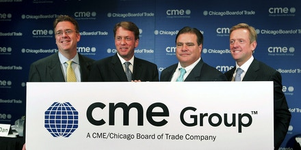 CHICAGO - OCTOBER 17:  (L to R) Bernard Dan, CEO of the Chicago Board of Trade (CBOT), Terrence Duffy, Chairman of the Chicago Mercantile Exchange (CME), Charles Carey, Chairman of the Chicago Board of Trade (CBOT), and Craig Donohue CEO or the CME, pose for a picture prior to a press conference October 17, 2006 in Chicago, Illinois. They announced the sale of the CBOT to the CME for $8 billion in cash and stocks.   (Photo by Scott Olson/Getty Images)