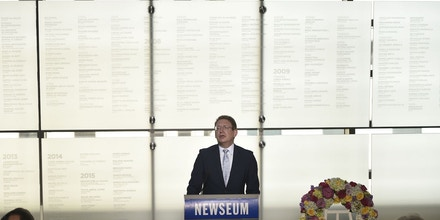 Newseum President and CEO Jeffery Herbst speaks during the re-dedication of the Newseum Journalists Memorial on June 6, 2016 at the Newseum in Washington, DC. / AFP / MANDEL NGAN        (Photo credit should read MANDEL NGAN/AFP/Getty Images)