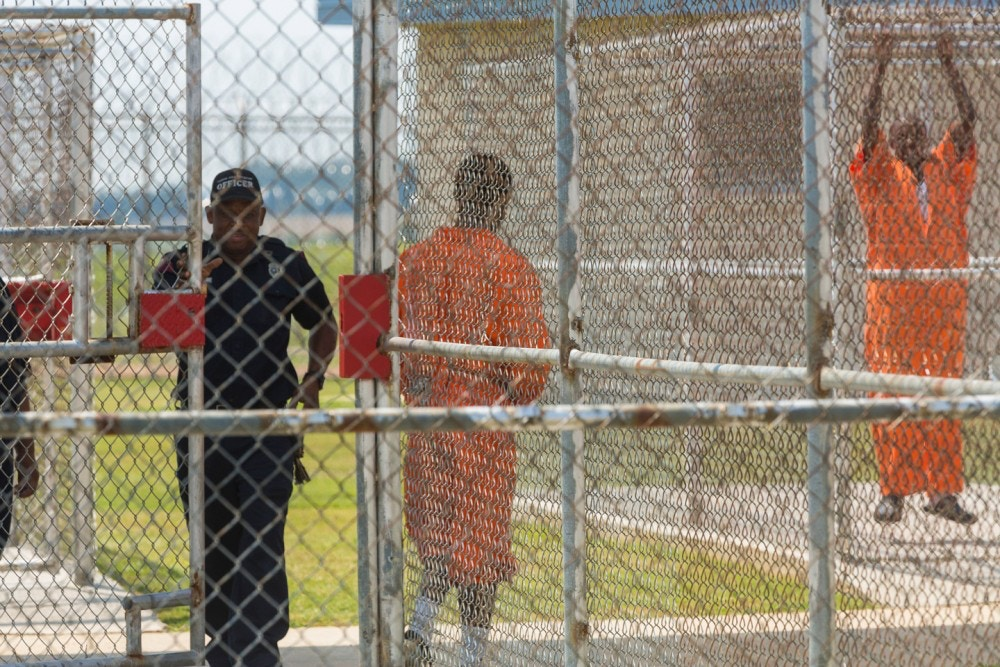 Inmates are let outside at the Louisiana State Penitentiary, in Angola, La., Sept. 9, 2013. The Southern Baptist Bible college inside the penitentiary offers bachelor?s degrees in a rigorous four-year course that includes study of Greek and Hebrew. (Angel Franco/The New York Times)