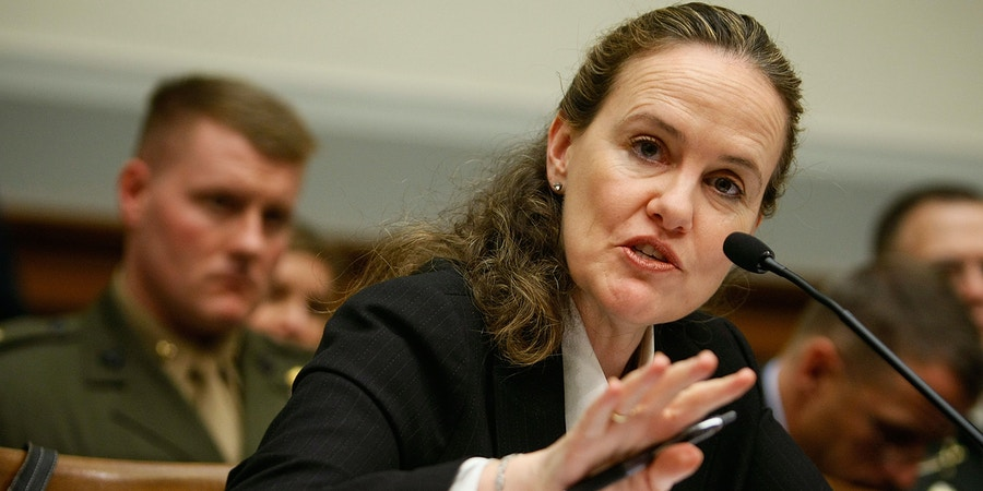 WASHINGTON - APRIL 02:  U.S. Under Secretary of Defense (Policy) Michele Flournoy testifies during a hearing before the House Armed Services Committee on Capitol Hill April 2, 2009 in Washington, DC. The hearing was to focus on the new U.S. strategy for Afghanistan and Pakistan and developments in U.S. Central Command and Special Operations Command.  (Photo by Alex Wong/Getty Images)