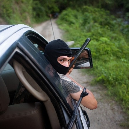 Autodefensa patrol in Aquila, Michoacan Thursday, July18, 2013.Photo by Brett Gundlock
