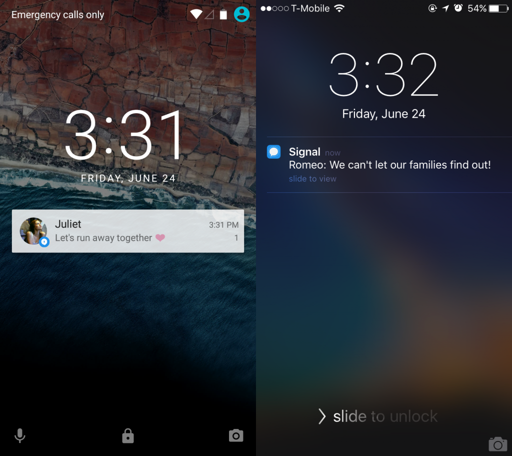 Left Signal notification on locked Android phone