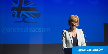 LONDON, ENGLAND - JULY 07: Andrea Leadsom, British Energy Secretary and Conservative Party leadership contender, speaks at a campaign rally on July 7, 2016 in London, England. Ms Leadsom is in the race to lead the Conservative party after British Prime Minister David Cameron announced he would be standing down. Conservative MPs will today take part in a second round of voting whittling the contenders for the Leadership down to just two. (Photo by Jack Taylor/Getty Images)