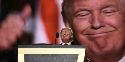 Republican presidential candidate Donald Trump addresses delegates at the end of the last day of the Republican National Convention on July 21, 2016, in Cleveland, Ohio. / AFP / Timothy A. CLARY        (Photo credit should read TIMOTHY A. CLARY/AFP/Getty Images)