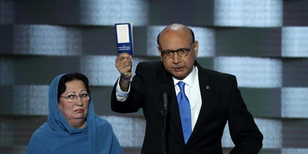 PHILADELPHIA, PA - JULY 28:  Khizr Khan, father of deceased Muslim U.S. Soldier Humayun S. M. Khan, holds up a booklet of the US Constitution as he delivers remarks on the fourth day of the Democratic National Convention at the Wells Fargo Center, July 28, 2016 in Philadelphia, Pennsylvania. Democratic presidential candidate Hillary Clinton received the number of votes needed to secure the party's nomination. An estimated 50,000 people are expected in Philadelphia, including hundreds of protesters and members of the media. The four-day Democratic National Convention kicked off July 25.  (Photo by Alex Wong/Getty Images)