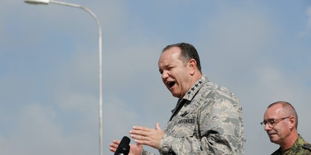 Supreme Allied Commander Europe (SACEUR) US General Philip Breedlove talks to the press conference at the military airport near the town of Slatina on June 7, 2013. Breedlove said that NATO supported the execution of and accord betweem Serbia and Kosovo to noramlize their relationship.