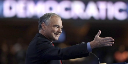 Democratic vice presidential candidate, Sen. Tim Kaine, D-Va., speaks during the third day session of the Democratic National Convention in Philadelphia, Wednesday, July 27, 2016. (AP Photo/Matt Rourke)