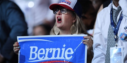 Bernie Sanders 's supporters attend the first day of the Democratic National Convention on July 25, 2016 at the Wells Fargo Center, Philadelphia, Pennsylvania,Photo by Olivier Douliery/Abacapress.com