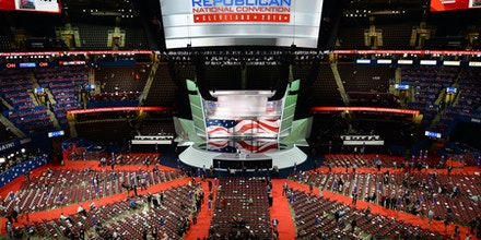 Top view of the RNC floor inside the Quicken Loans Arena on the first day of the  Republican National Convention in Cleveland, OH, on July 18, 2016. (Photo by Anthony Behar) *** Please Use Credit from Credit Field ***