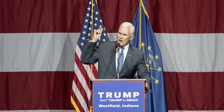 WESTFIELD, IN - JULY 12:  Indiana Governor Mike Pence introduces Republican presidential candidate Donald Trump at the Grand Park Events Center on July 12, 2016 in Westfield, Indiana. Trump is campaigning amid speculation he may select Indiana Gov. Mike Pence as his running mate. (Photo by Aaron P. Bernstein/Getty Images)