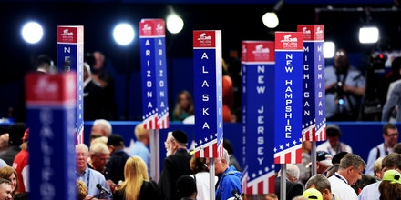 CLEVELAND, OH - JULY 19:  Delegation state signage is seen on the floor prior to the start of the second day of the Republican National Convention on July 19, 2016 at the Quicken Loans Arena in Cleveland, Ohio. An estimated 50,000 people are expected in Cleveland, including hundreds of protesters and members of the media. The four-day Republican National Convention kicked off on July 18.  (Photo by Jeff Swensen/Getty Images)