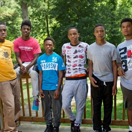 July 12, 2016 - JIFF program participants (from left) Markel Davis, 16, Devion Thomas, 14, Cordarius Lane, 15, Kerron Young, 17, Fredrick Jordan, 13, and Adarius Boltze, 16, are seen before taking part in a treetop rope course and zipline activity in Memphis.  (Photo by Brandon Dill)