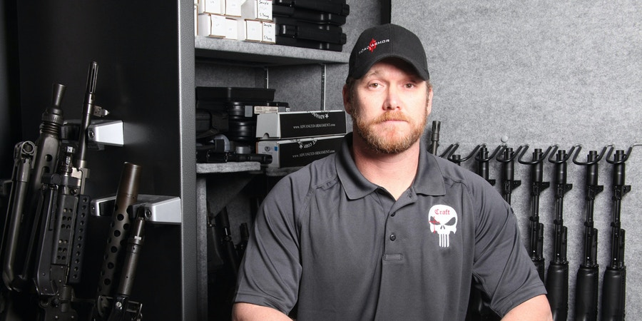 Chris Kyle at the Craft International offices in Dallas,Texas on March 20, 2012. Chris Kyle is a retired United States Navy SEAL who is the most lethal sniper in U.S. military history with over 150 confirmed kills and an additional 100 unconfirmed kills. Craft International provides security, defense and combat weapons training.