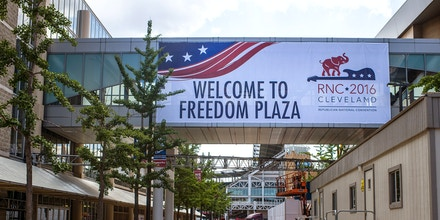 CLEVELAND, OH - JULY 11: A banner welcoming participants of the 2016 Republican National Convention hangs between Quicken Loans Arena and a parking garage on July 11, 2016 in Cleveland, Ohio. The 2016 Republican National Convention will be held at the Quicken Loans Arena July 18-21, 2016. (Photo by Angelo Merendino/Getty Images)