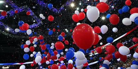 TAMPA, FL - AUGUST 30:  Balloons drop after Republican presidential candidate, former Massachusetts Gov. Mitt Romney accepted the nomination during the final day of the Republican National Convention at the Tampa Bay Times Forum on August 30, 2012 in Tampa, Florida. Former Massachusetts Gov. Mitt Romney was nominated as the Republican presidential candidate during the RNC which will conclude today.  (Photo by Chip Somodevilla/Getty Images)