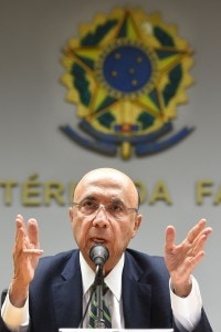 New Brazilian Finance Minister Henrique Meirelles speaks during a press conference to announce the names of the new members of the government's economic team in Brasilia on May 17, 2016.<br /><br /><br /><br /><br /><br /> Meirelles named Ilan Goldfajn for the Central Bank, Marcelo Caetano for the Department of Welfare, Mansueto Almeida Junior as Secretary of Economic Monitoring and Carlos Hamilton as Secretary of Economic Policy. / AFP / EVARISTO SA        (Photo credit should read EVARISTO SA/AFP/Getty Images)