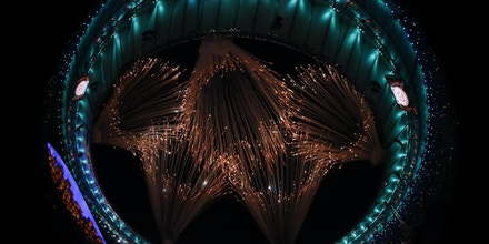 The Olympic Rings are made by fireworks during the opening ceremony of the Rio 2016 Olympic Games at the Maracana stadium in Rio de Janeiro on August 5, 2016. / AFP / Odd ANDERSEN        (Photo credit should read ODD ANDERSEN/AFP/Getty Images)