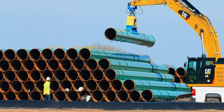 Pipes for the proposed Dakota Access Pipeline at a staging area in Worthing, S.D. , May 9, 2015.