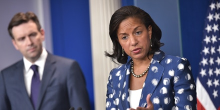 US National Security Advisor Susan Rice speaks during the daily briefing in the Brady Briefing Room of the White House on July 22, 2015 in Washington, DC.  At left is White House Press Secretary Josh Earnest. AFP PHOTO/MANDEL NGAN        (Photo credit should read MANDEL NGAN/AFP/Getty Images)