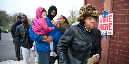 Eileen Woofford, 84, waiting to cast her vote at Cleveland Avenue Baptist Church on Nov. 6, 2012, in Kansas City, Missouri.