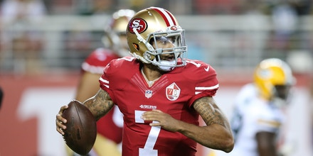 August 26, 2016: San Francisco 49ers quarterback Colin Kaepernick #7 scrambles for extra yards in the game between the Green Bay Packers and San Francisco 49ers, Levi Stadium, San Jose, CA. Photographer: Peter Joneleit/ Cal Sport Media (Cal Sport Media via AP Images)