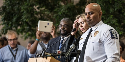 CHARLOTTE, NC - SEPTEMBER 22: Charlotte-Mecklenburg Police Chief Kerr Putney, right, and Charlotte Mayor Jennifer Roberts field questions from the media September 22, 2016 in Charlotte, North Carolina. Protests began on Tuesday night following the fatal shooting of 43-year-old Keith Lamont Scott at an apartment complex near UNC Charlotte. (Photo by Sean Rayford/Getty Images)