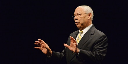 Former US secretary of state Colin Powell gestures as he gives a speech during a visit to Tokyo on June 18, 2014. Powell delivered a one-hour speech on