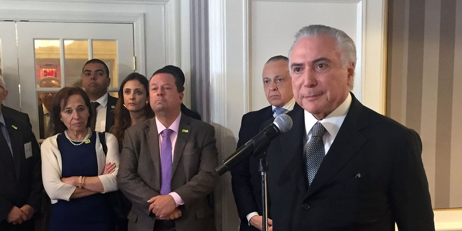 Brazilian president Michel Temer talks to the press after a meeting in New York with US investors, organized by the Council of the Americas on September 21, 2016. / AFP / Leila MACOR        (Photo credit should read LEILA MACOR/AFP/Getty Images)