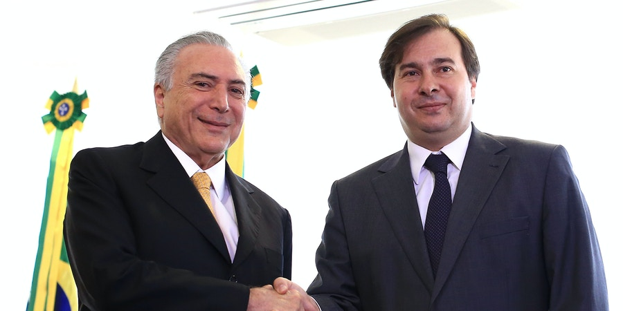 The incumbent president, Michel Temer, receives the new mayor, Rodrigo Maia, who was elected this morning to replace Eduardo Cunha, the president's office in Brasilia, capital of Brazil, on July 14, 2016. Photo: DIDA SAMPAIO/ESTADAO CONTEUDO (Agencia Estado via AP Images)