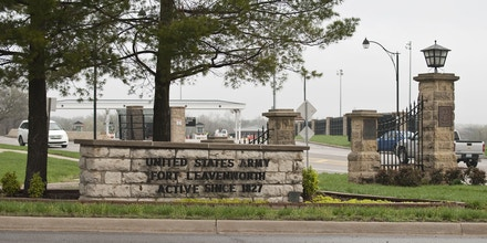 LEAVENWORTH, KS -  MARCH 22:  Cars arrive at the main entrance to the U.S. Army's Fort Leavenworth March 22, 2012 in Leavenworth, Kansas. Army Staff Sgt. Robert Bales, accused of a shooting rampage that killed 16 people in Afghanistan, is being held at the military prison at Fort Leavenworth. (Photo by Julie Denesha/Getty Images)