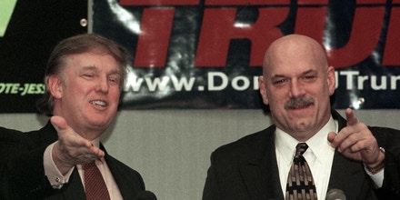 MINNEAPOLIS, UNITED STATES:  New York developer and potential Reform Party presidential candidate Donald Trump (L) and Minnesota Govenor Jesse Ventura (R) take questions at a news conference after Trump gave a speech at a Chamber of Commerce luncheon 07 January 2000 in Brooklyn Park, Minnesota, the city where Ventura was once mayor. Trump will also speak at a fund-raiser for the Jesse Ventura Volunteer Committee in Brooklyn Park. AFP PHOTO/CRAIG LASSIG (Photo credit should read CRAIG LASSIG/AFP/Getty Images)