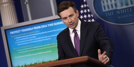 WASHINGTON, DC - JUNE 20:  White House Press Secretary Josh Earnest briefs members of the media at the White House June 20, 2016 in Washington, DC. Earnest opened the day's briefing with advice for protection against a growing threat from the Zika virus.  (Photo by Win McNamee/Getty Images)