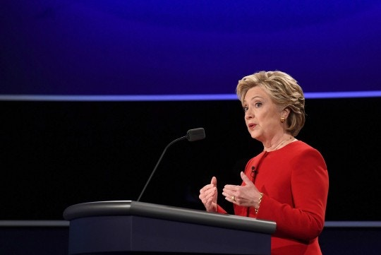 Democratic nominee Hillary Clinton speaks during the first presidential debate at Hofstra University in Hempstead, New York on September 26, 2016.