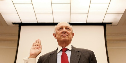 WASHINGTON - SEPTEMBER 27: Former CIA Director R. James Woolsey is sworn in before the House Science and Technology Committee prior to a hearing on Capitol Hill September 27, 2007 in Washington, DC. Woolsey testified during a hearing on the
